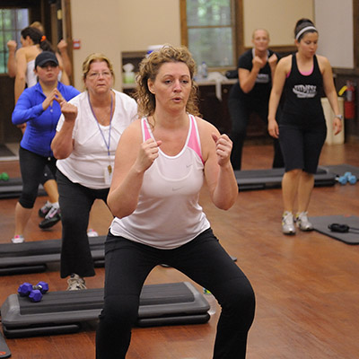Woman in fitness class